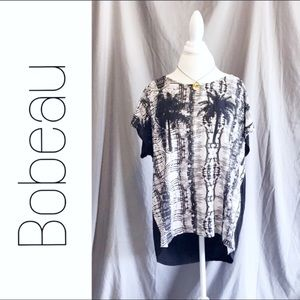 Bobeau Black White Tropical Floral Top 2X